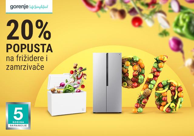 20% popusta na Gorenje frižidere i zamrzivače