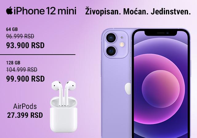 iPhone 12 Mini 64GB, iPhone 12 Mini 128GB i AirPods