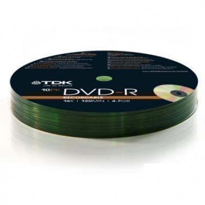 Optički disk TDK DVD-R Recordable 4.7GB 16x 120min 10/1 pack  DVD-R, 4.7 GB