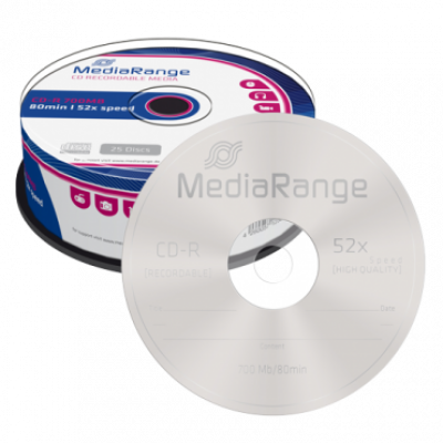 Optički disk MEDIA RANGE CD-R 700MB 52x, Cake25 - MR201  CD-R, 650 – 700 MB