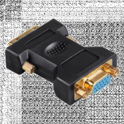 HAMA adapter-konverter DVI na VGA (m/ž) (Crni) - 45073,  DVI-I - muški, VGA - ženski