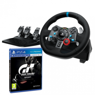 LOGITECH gejmerski volan DRIVING FORCE G29 (Crni) - 941-000112 + PS4 GRAN TURISMO SPORT  Sekvencijalni menjač, Gas, kočnica i kvačilo, Windows, PlayStation
