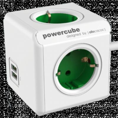 ALLOCACOC PowerCube Extended USB 4xSchuko + dual USB, kabl duž.1.5m  4 utičnice, 1,5m, Bela/zelena