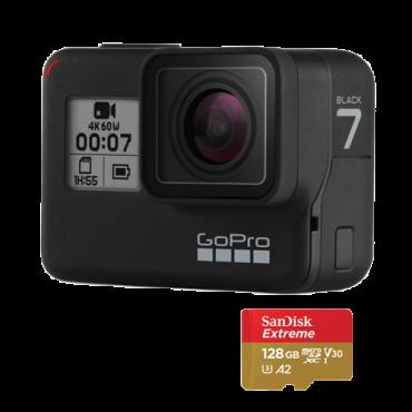 GOPRO HERO7 Black (+ MicroSD 128GB) - CHDHX-701-RW -  CMOS, 12 MP