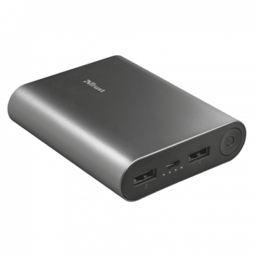 TRUST Power bank / eksterna baterija Luco Metal  10000 mAh, 1 x Micro USB, 2 x USB A, Srebrna