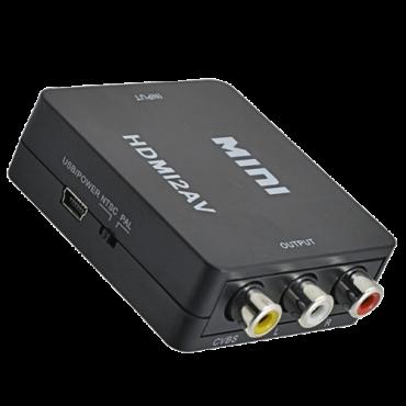 FAST ASIA adapter-konverter HDMI 1080p na AV kompozitni (3xRCA) (ž/3ž) (Crni),  HDMI A - ženski, RCA 3x - ženski