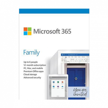 Softver MICROSOFT 365 Family English  Engleski, Fizička lica - kućna upotreba, Jednogodišnja pretplata