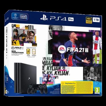 SONY konzola PLAYSTATION 4 PRO 1TB + DUALSHOCK 4 + FIFA 21  PS4, 2 kontrolera, Crna