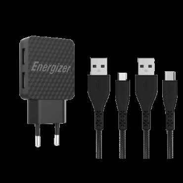 ENERGIZER Punjač za telefon USB Tip C/Micro USB AC2BEULCMM (Crni)  Kućni žični punjač, Micro USB / USB Tip C, Crna