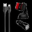 PROMATE Autokit autopunjač 2 x USB tip A + autodržač + USB kabl tip A na tip C - GPS00716  Auto držač za mobilni telefon, Crna